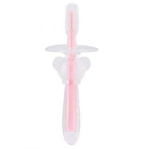Bébé Brosse À Dents Avec Doigt Brosse À Dents Enfants Enfants Outil De Soins Buccaux Infantile Brosse À Dents Feuilles Caduques Formation Brosse À Dents Cartoon Animal Silicone Bébé Brosse (Pink) (salmueu, neuf)