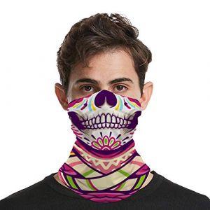 Écharpe unisexe pour le visage, cagoule bandana hawaïen sucre, tête de mort sans couture 3D tour de cou, plage roses, tropical pour moto, randonnée, ski (CB6F3u, neuf)