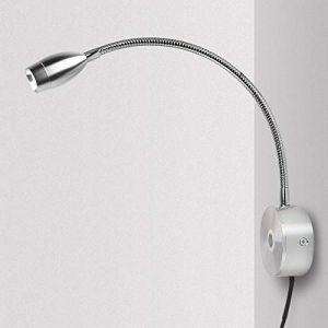 Lampe Chevet Murale, Tactile Dimmable Applique Liseuse LED Col de Cygne Lumière 3W Lampe de Lecture avec interrupteur, pour la chambre, blanc chaud (QYHTECH, neuf)