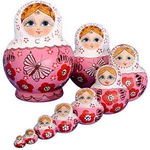 YAKELUS,marquedepoupéesgigognes(matriochkas),10pièces,poupéesgigognesrusses,fabricationmanuelle,tilleulboréale,cadeaux,jouets?1071 (YAKELUS UK, neuf)