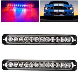 2 x LED Feux Stroboscopique 12 LED 12-24v LED D'urgence Danger Lumière led Stroboscope pour construction camion voiture véhicule 12W-Rouge&Bleu&Rouge (Caiwanbing, neuf)