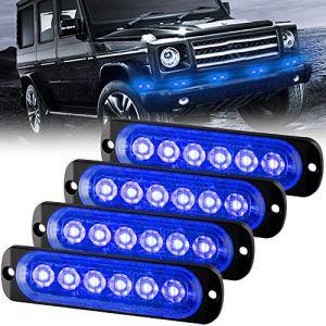 Sidaqi Feux Stroboscopique Urgent Avertissement Flash Danger Lampe d'avertissement 6 LED Bleu pour Véhicule Camion Remorque 12-24V (4pcs) (Caiwanbing, neuf)