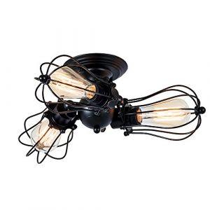 Plafonnier Industriel Métal Réglable Suspension Luminaire Vintage Suspension Industrielle pour Salon Chambre Café Bar Restaurent Chambre Réfectoire (Ampoule non incluse) (Noir moderne) (GLADFRESIT, neuf)