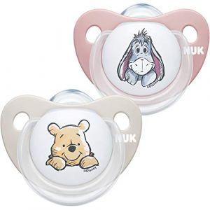 NUK Trendline Lot de 2 tétines pour bébé 6-18 mois en silicone sans BPA Motif Winnie l'ourson Rose (M.D. Shop, neuf)