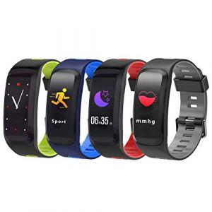 UKCOCO F4 Écran Couleur Smart Band Bracelet Intelligent Bracelet Oxygène Sanguin Pression Artérielle Fitness Tracker Étanche Rappel Dappel Bluetooth Smartband Rouge (Vessy, neuf)
