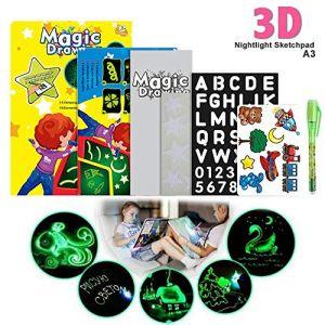 Magique Lumineuse Planche à Dessin Tableau d'écriture lumineux fluorescent Dessine avec de la lumière et développe des jouets éducatifs pour les enfants(A3 33 * 1.5 * 45cm) (va8.domain, neuf)