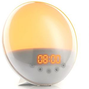 Simulateur d'Aube Haute Fidélité – Réveillez-vous en Lumière – Réveil Lumineux avec Mode Nuit Noire et Bruit Blanc – Simulation Lumière Soleil, Crépuscule, Lampe Chevet Radio (Top Life, neuf)