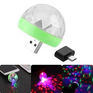 Tioodre Mini boule disco USB Professional RGB 4lumière LED Stage fête Vidéoprojecteur Effet ampoule Vacances Décoration de mariage (yuthbefter, neuf)