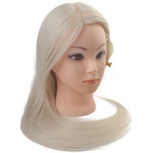 Tête à coiffer de cosmétologie 60 cm avec cheveux synthétiques blonds, tête pour s'entraîner à coiffer. (Perfe Hair Beauty, neuf)