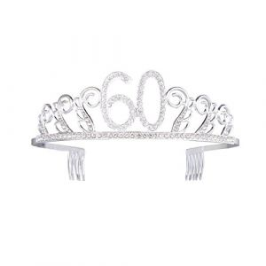 Cristal Diadème anniversaire Couronne 16/18/21th/30e/40e/50e/6oth/70ème anniversaire Cadeau Couronne de princesse Accessoires Cheveux Argent (60ans) (Yworld, neuf)