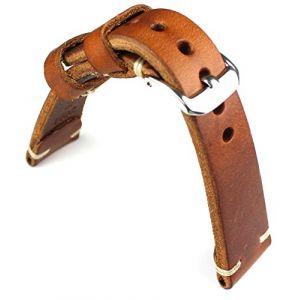 Bracelet de montre 20mm / 16mm Rios1931en cuir de vachette épais, style militaire aviateur, Bracelet rétro de qualité marron (Sammlerparadies, neuf)
