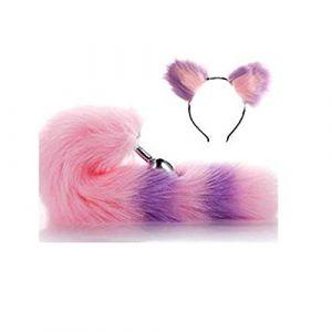 Serre-tête en fausse queue de renard et oreilles de chat Rose/violet 3 tailles (Pavian, neuf)