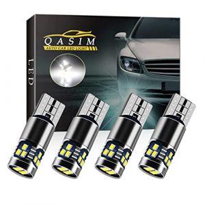 Qasim 4x LED T10 W5W Ampoules Canbus Sans Erreur Wedge 168 Blanc 2016 18-SMD pour Voiture Lumière de Dôme Intérieur Liseuse Feu arrière DC9-28V Hétéropolarité cconstante (Qasim auto parts, neuf)