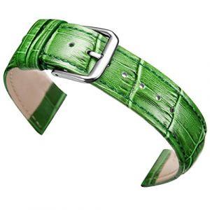 20mm Vert Montre en Cuir Remplacement Bracelet en Alligator Bande rembourrée grainé Classique Boucle ardillon (Autulet Europe, neuf)