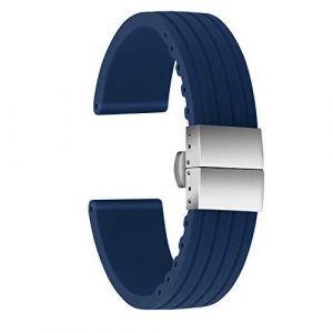 Ullchro Bracelet Montre Haute Qualité Remplacer Silicone Bracelet Montre Stripe Pattern - 16mm, 18mm, 20mm, 22mm, 24mm Caoutchouc Montre Bracelet avec Boucle Déployante Acier Inoxydable (20mm, Bleu) (Ullchro-EU, neuf)