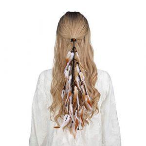 Bandeau en plumes coiffe hippie indienne - coiffes en plumes à gland Boho pour femmes Costume Festival chapeaux (Café léger + blanc) (anjerry, neuf)