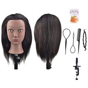 BaSha Tête à coiffer afro à cheveux 100% naturels pour apprentissage de coiffure avec pince de fixation sur table (BaSha, neuf)