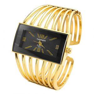 JSDDE Montre Bracelet Femme Elégant Doré Cadran Carré Quartz Analogique Montre Bracelet (QGEM, neuf)