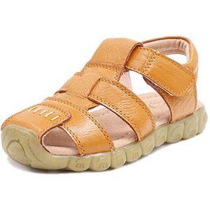 Gaatpot Enfant Sandales et Nu-Pieds en Cuir Bébé Chaussure Sandales Bout Fermé Chaussure d'été pour Garçon Fille Jaune 28 EU/28 CN (Cotouke, neuf)