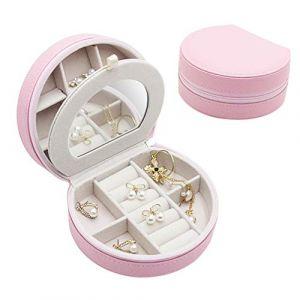 Mini boîte à bijoux portable boîte à bijoux simple boîte de rangement de bijoux boîte de bijoux de velours pour boucles d'oreilles,pink (shengyuanwujin, neuf)