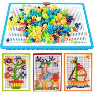 Jeu De Construction Mosaïque Puzzle Enfant Jouet Educatif Créatif Jouet Assemblage 296Pcs pour Garçons et filles plus de 3 ans Cadeau Enfant (RUIXIAMUK, neuf)