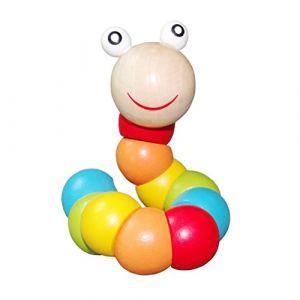PAMRAY Jouet en Bois pour Enfants Bambin Compte Perle Blocs Couleur Wiggly Chenille Toys Reconnaître Jeunes Intelligent Développement 1 Ans (Vinstoken, neuf)