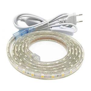 Ruban Led, Grande Luminosité bandeau led 220v avec Interrupteur,5050 IP65 étanche, 2M Blanc Froid (KONTIRE STORE, neuf)