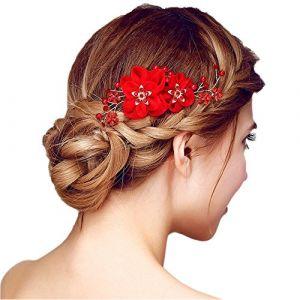 Peigne à Cheveux Rouge Décoratif de Fleurs Femme Epingle Cheveux Bijoux de Tête en Strass Cristaux Perles pour Mariage Accessoire Chevelure (HBselect, neuf)
