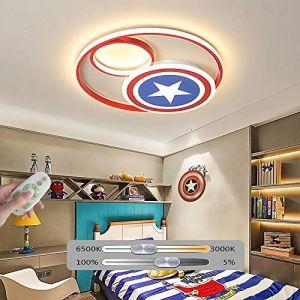 Plafonnier LED Lampe Captain America Décor Dimmable Avec Télécommande Lampe acrylique moderne Salon Chambre à coucher Salle à manger Study Boy Girl Lampe de chambre d'enfant,38WØ40CM (CHOSMO-Lampe, neuf)