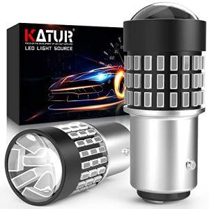 KaTur 1157 BAY15D 1016 1034 7528 Ampoule LED 900 Lumens 3014 78SMD Lentille Ampoules LED pour feu Stop Clignotant Feu arrière Feu de recul, Rouge Brillant (Pack de 2) (KAtur, neuf)