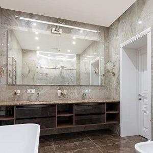 MantoLite Applique Murale 16W,Métal Miroir Salle de Bains Lumière LED avec tête de Lampe Pivotante et Interrupteur pour Chambre Intérieur Éclairage,IP44 3000K Lampes de Lecture de Chevet(Nickel, 90CM) (Mantolux, neuf)