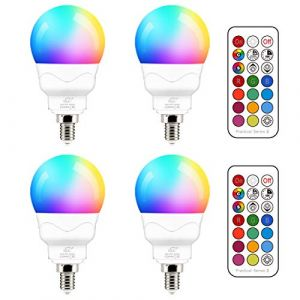 Ampoule LED E14 5W (équivalent 40W) Couleur RGB Changement Variation Coloré RGBW Globe Blanc Chaud 2700K Dimmable par Télécommande (lot de 4) (RisingTech, neuf)
