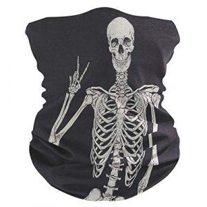 QMIN Bandeau Tête de Mort Humain Squelette Bandana Visage Protection Soleil Masque Cagoule Magique Cagoule pour Femmes Hommes Garçons Filles (QMIN, neuf)