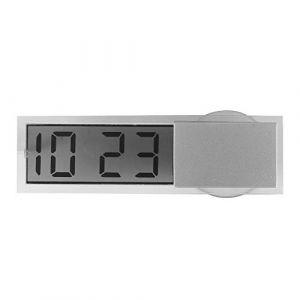 Winbang Horloge de voiture, mini horloge électronique avec affichage à cristaux liquides et ventouse Accessoires intérieurs d'ornement de montre de voiture (Horloge auto-adhésive) (Win-bang, neuf)