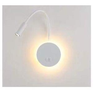 Budbuddy 3+8W LED applique liseuse Lampe de chevet pour lire LED Lampe de lecture lampe flexible murale Blanc Applique murale Liseuse LED avec interrupteur applique de chevet 3000K Moderne (mengya -EU, neuf)