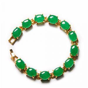 Yigedan 18KGP Bracelet en pierres naturelles en forme d'œufs Jade Plaqué or Vert (crazy jewelry, neuf)