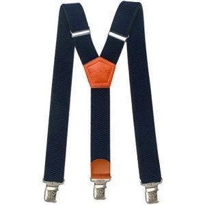 Bretelles Y entièrement réglable pour Homme Femme 4 cm avec 3 clips élastique Solide Casual Pantalon Jeans Différentes couleurs, Marine 2, Lange (Decalen France, neuf)