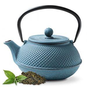 Tealøv THÉIÈRE Fonte 1,1 l - Théière en Fonte avec infuseur en Acier Inoxydable - Entièrement émaillée de l'intérieur - Prépare Une Tasse de thé Parfaite - Design Japonais à Picots Arare (Bleu) (Cook & Dine, neuf)