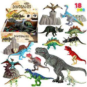 JOYIN Dinausore Jouet Educatif Dinosaure Réaliste 18Pcs Plastique Dinosaure Chiffres (12 à 22 cm), y Compris T-Rex, Triceratops, Velociraptor pour Enfant (Joyin Direct, neuf)