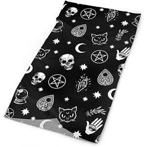 Couvre-chefs - UPF 30 Chapeaux quotidiens polyvalents à l'extérieur - Bandeau noir gothique tête de mort chat lune, cache-cou, bandana, cagoule (Hancal, neuf)