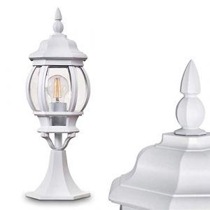 Borne extérieure Lentua, potelet vintage en aluminium moulé blanc de 50 cm de haut, luminaire de jardin pour une ampoule E27 max. 60 Watt, IP44, compatible ampoules LED (hofstein, neuf)