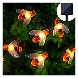 Guirlande Lumineuse 6.5M 30LED Solar Bee Light pour Fête Festival Noël Anniversaire Soirée Party Mariage Décor Jardin Terrasse Pelouse Etanche IP65 (Dreamsbox, neuf)