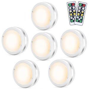 Lampe de Placard Spot LED Murale Bawoo 6pcs Lampes Armoire Veilleuse Autocollante Telecommande Sans Fil pour Escalier Miroir Cuisine Vitrines Cabinet (Blanc) (MUJISM, neuf)