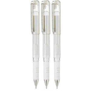 Pentel Blanc Hybrid Gel Grip DX stylos à encre gel métallisée Pointe large 1mm Pointe 0,5mm Largeur de trait Encre gel K230-wo (lot de 3) (morgans_direct_ltd, neuf)