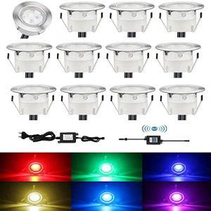 CISLAN 12 Pcs RGB LED Decking Floor Lights WiFi Télécommande Basse Tension Étanche IP67 pour Terrasse Patio Chemin Mur Décoration De Jardin (RGB Light + WiFi) (CISLAN, neuf)