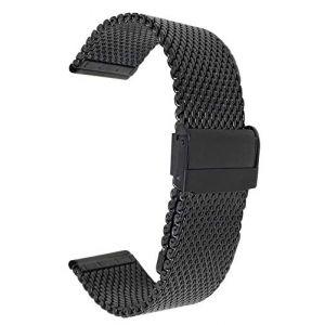 Bandini 22mm Bracelet de Montre Maille en Acier Inoxydable pour Hommes, Noir - Bracelet Montre de Remplacement en Maille métallique - Longueur Ajustable (Shoptictoc., neuf)