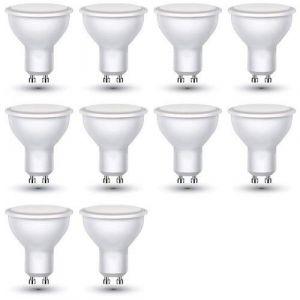 ZoneLED Lot de 10 ampoules LED GU10 – 3W avec une luminosité de 25WÂ–210LumensÂ–110°, Plastique, 6400K Weißlicht (10-er SET), GU10, 3.00 wattsW, 230.00 voltsV (ZONE LED, neuf)