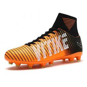 VITIKE Chaussures de Football pour Enfants/Hommes Chaussures de Soccer Soccer pour Les Jeunes Bottes à la Cheville Chaussures de Formation de Football(EU35-Orange) (BOSEN Authorized Store, neuf)