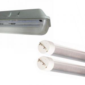 Kit de Réglette LED étanche Double pour Tubes T8 150cm IP65 (2 Tubes Néon lumineuse LED 150cm T8 24W inclus) - Blanc Froid 6000K - 8000K (SILAMP FR, neuf)