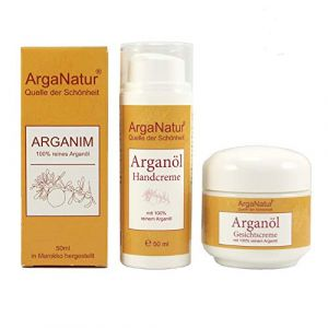 Bio Crème pour les mains et le visage à l'huile d'argan Premium Lot de 3-100% pure bio - Huile végétalienne bio pour le corps, la peau et les ongles - Huile d'argan I organic, anti-âge (soukdumaroc, neuf)
